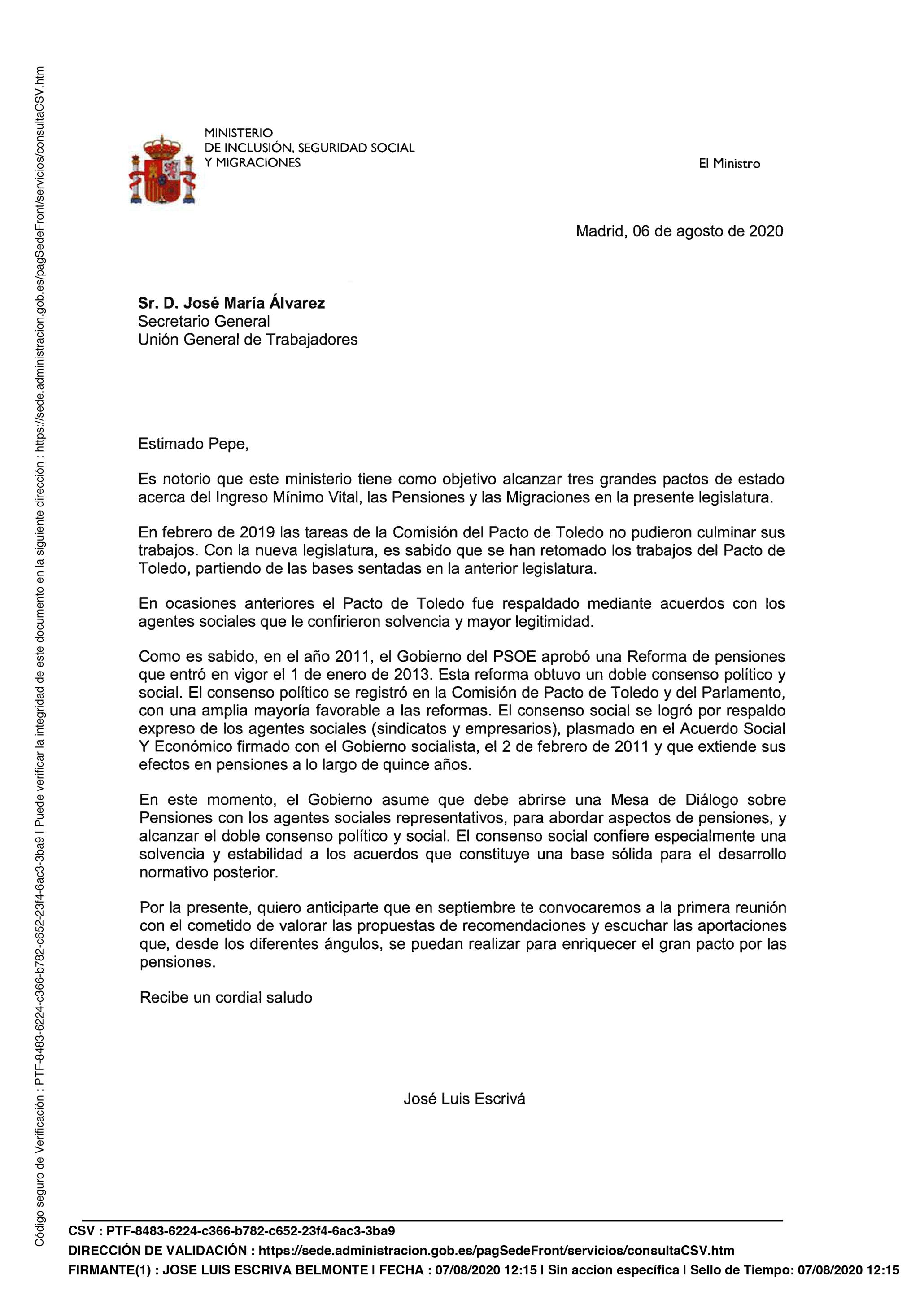 Respuesta Ministerio sobre la Mesa de Diálogo sobre pensiones